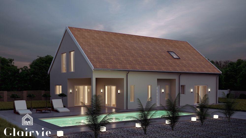 maison moderne avec porche et gallerie