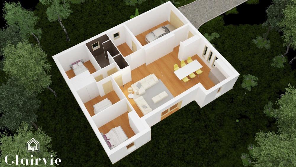 plan 3D interieur maison