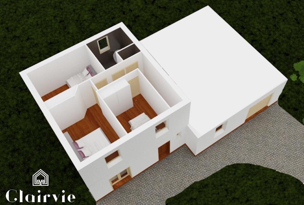 plan maison vitrée