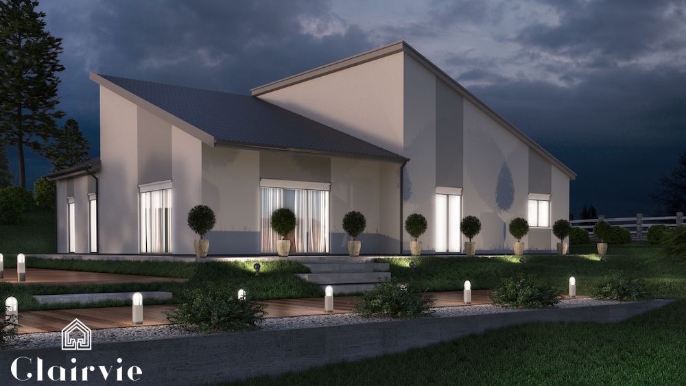 Maison traditionnelle en v for Plan villa moderne 200m2