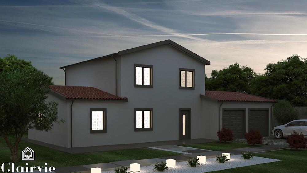 Grenache maison traditionnelle avec tour centrale for Maison garage double